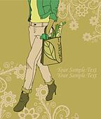 Fashion girl with a bag of organic products on a floral background - Stock Image - DKHR70