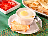 CODDLED EGG WITH TOAST - Stock Image - B0EJP5