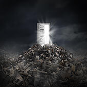 Open door light and the resilient power of hope as a symbol of shinning rays of human aspiration concept escaping from a dark sc - Stock Image - ED6KXH