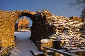 Norham Castle, one of the most important of the Border castles was built in 1121 by the Bishops of Durham. A long and turbulent - Stock Image - CF2KRG