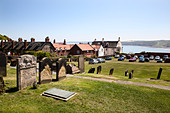 The setting of Anne Bronte's grave on Castle Hill overlooking South Bay, Scarborough, North Yorkshire, Yorkshire, England - Stock Image - CXBDG2