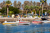 Speedboats for hire, Paphos, Cyprus - Stock Image - E1JFT7