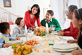 Family All Together At Christmas Dinner - Stock Image - B3XDY4
