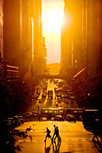 Sunset view of 42nd Street in Summer, New York City. - Stock Image - BTTHGP