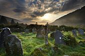 the graveyard at Glendalough, Wicklow Mountains, County Wicklow, Ireland - Stock Image - B0PE7D
