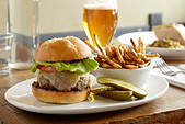 Burger and fries - Stock Image - CWAA6D