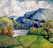 fine arts, Cezanne, Paul, (1839 - 1906), painting, Kunsthaus Zürich, French, impressionsm, nature, tree, trees, lake, maountains - Stock Image - AMDJDM