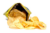 Open bag of crisps - Stock Image - A128ND