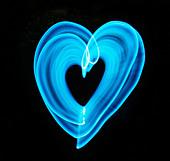 blue light heart - Stock Image - BBWJRG
