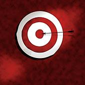 Bullseye with arrow illustration - Stock Image - A7RH30