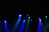 Colorful Stage Lights at a Theater with Copy Space - Stock Image - AJWPWT