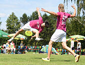 Karlsruhe, Germany. 25th June, 2015. Florian Hess (L) and Alex Leist of Germany take part in the FPA Freestyle Disc World Championships in Karlsruhe, Germany, 25 June 2015. The event runs from 25 to 28 June 2015. PHOTO: ULI DECK/dpa/Alamy Live News - Stock Image - EWGP7K