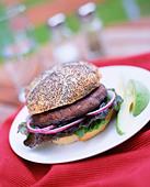 vegetarian portobello mushroom burger prepared food barbeque - Stock Image - A8558C