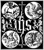 Sacred Monogram and Badges of the Apostles: an engraving from 1845 reproducing an image from a 1495 book. - Stock Image - B30N19