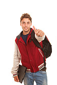happy student with thumb up - Stock Image - CXKE4D
