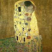 """fine arts, Klimt, Gustav, (1862 - 1918), painting, ""Der Kuss"", (""the kiss""), 1907 - 1908, oil, silver and gold on canvas, 1 - Stock Image - AFKRX2"