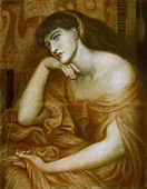 "fine arts, Rossetti, Dante Gabriel (1828 - 1882), painting, ""Penelope"", oil on canvas, 1869, symbolism, preraffaelites, Greek - Stock Image - BD689D"