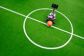 Football robot on a snap marking - Stock Image - AM8A1G