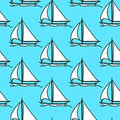 seamless wallpaper with a sailboat on the ocean waves - Stock Image - DNKYY7
