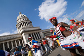 Afrocuban carnival group Los componedores de batea performing in front of the Capitolio in La Habana Vieja Havana Cuba - Stock Image - B2P307
