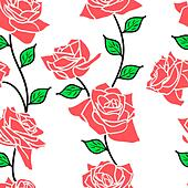 Beautiful  seamless wallpaper with rose flowers, vector illustration - Stock Image - DNM09J