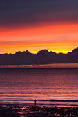 Clarach, Cardigan Bay, Wales, UK. 12 October 2014.  A lone angler stands before a spectacular sunset over Cardigan Bay, Wales. © atgof.co/Alamy Live News - Stock Image - E8NXWA