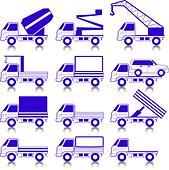Set of vector icons - transportation symbols.  Cars, vehicles. Car body. - Stock Image - DNM0M7