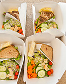 Sliced vegetables and sandwiches in lunch boxes - Stock Image - D3221E
