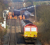Northumberland, UK. 18th Nov, 2014. A fright Train  de-railed  blocking a major Train line from Blyth to Tyne in the North of the England. © Steve Miller/paul king/Alamy Live News - Stock Image - EAND66