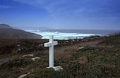a percebeiros, cross in Costa da Morte near Camarinas Galicia Spain - Stock Image - ARBPHF