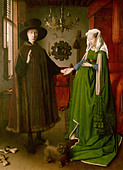 """fine arts, Eyck, Jan van, (circa 1390 - 1441), painting, ""the Arnolfini wedding"", 1434, oil on panel, 82 cm x 60 cm, National - Stock Image - A3XM1T"