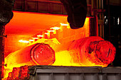 Molten forged steel in furnace - Stock Image - CE9D5G