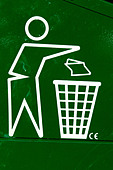Closeup Detail of the Trash Symbol on a Green Recycling Bin Copy Space - Stock Image - B4BDH0