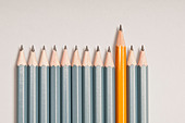 pencils row with one of different color - Stock Image - DGM5XD