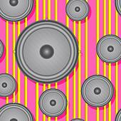 Speakers seamless background. Vector illustration. - Stock Image - DNKW14