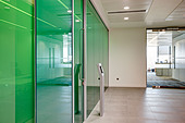 green glass wall meeting room city office bank - Stock Image - CNB44X
