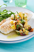 Pan Fried Cod with Peach Salsa - Stock Image - BJMC1P