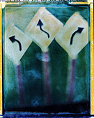 arrow signs concept direction information choices decision direction paths possibilities decide choose polaroid transfer. ©mak - Stock Image - A615A1