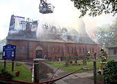 Fleet, Hampshire, UK. 22nd June, 2015. Boy, 17, arrested on suspicion of church arson  A 17-year-old boy from Fleet has been arrested on suspicion of arson in connection with the fire that engulfed a church last night.  Police were called at 5.49pm on Monday, June 22, 2015 to a fire at All Saints Church on Church Road, Fleet. Hants Officers are investigating whether the fire is linked to any similar reports    © jason kay/Alamy Live News - Stock Image - EWCNXG