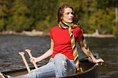 Girl in Canoe on Lake, Lost Lake, Mount Hood, Oregon, USA - Stock Image - BBEGB2