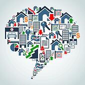 Property service in social media - Stock Image - DMXXX4