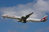 Qatar Airways Airbus A340-642 departure at London Heathrow Airport, United Kingdom - Stock Image - B8F1CW