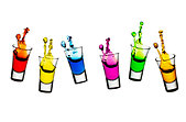 Colorful liqueur spilling from shot glasses - Stock Image - BY88GK