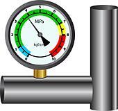 gas manometer isolated on white background - Stock Image - DNM126