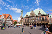 Am Markt square with the Rathaus, Alt Stadt, Bremen, germany - Stock Image - E6RAT0
