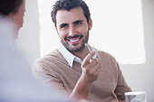 Smiling business people talking - Stock Image - CWJKWN