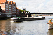 "German river barge ""Angura"" on the River Wesser at Bremen. - Stock Image - E6RATA"