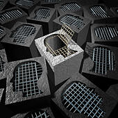Independent thinking and open mind concept as a freedom metaphor for an  innovative thinker as a cement prison with open metal j - Stock Image - ED0YJG