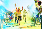 """Hengyang, China's Hunan Province. 27th June, 2015. Runners take part in the Color Run on the outskirts of Hengyang City, central China's Hunan Province, June 27, 2015. Some 2,000 runners finished the """"Color Run"""" event here Saturday. © Cao Zhengping/Xinhua/Alamy Live News - Stock Image - EWJ7RG"""