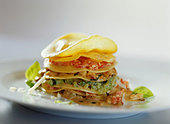 Vegetarian lasagne with tomato, peppers and courgettes - Stock Image - BJJ81Y